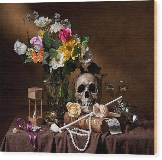 Vanitas With Flowers Bouquet-skull-hourglass-clay Pipe And Glassware Wood Print
