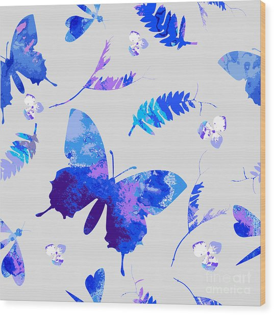 Vector Floral Watercolor Texture Wood Print by Galinal