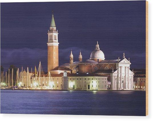 Venice At Night Wood Print by Ioan Panaite