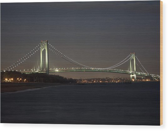 1 Verrazano Narrows Bridge At Twilight Wood Print