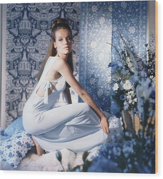 Veruschka Wearing Blue Nightgown Wood Print by Horst P. Horst