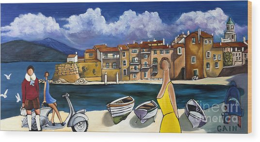 Vespa And French Cove Wood Print