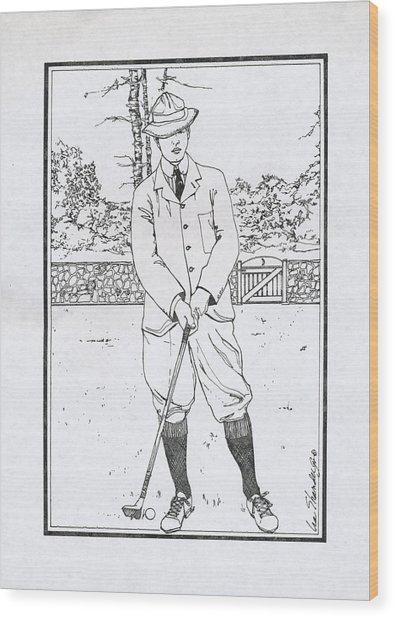 Vintage Golfer Wood Print