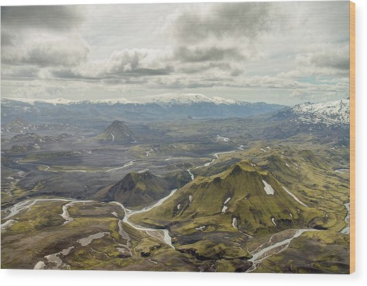 Volcano Valley In Iceland Wood Print