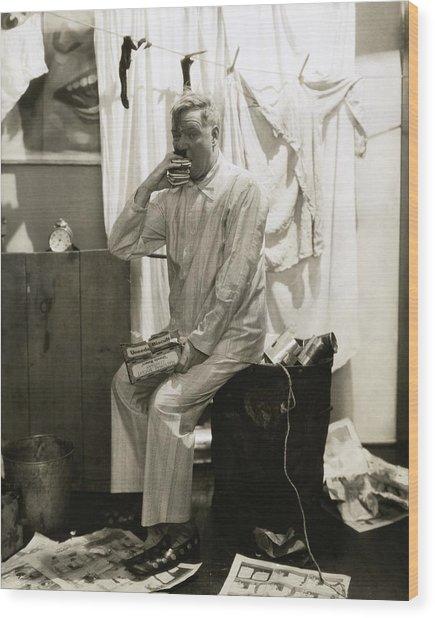 W. C. Fields Wearing Pyjamas Wood Print by Edward Steichen