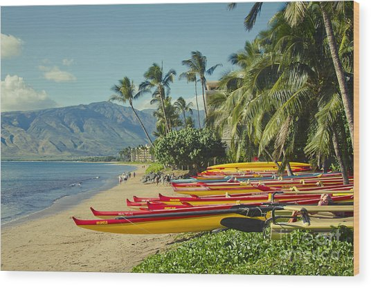 Kenolio Beach Sugar Beach Kihei Maui Hawaii  Wood Print