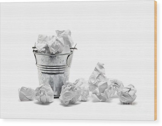 Waste Basket With Crumpled Papers Wood Print by Shawn Hempel