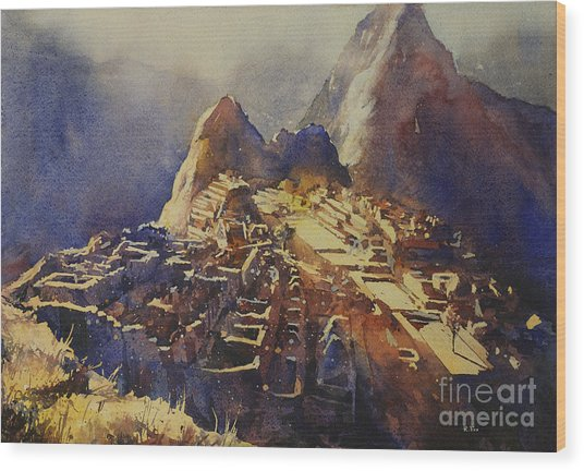 Watercolor Painting Machu Picchu Peru Wood Print