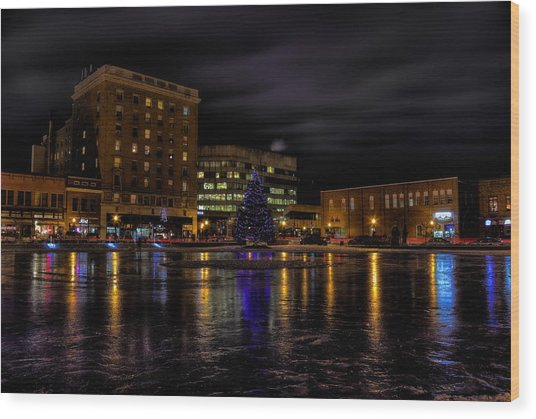 Wausau After Dark At Christmas Wood Print