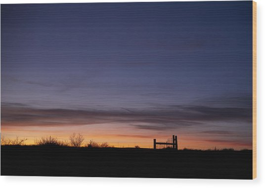 West Texas Sunset Wood Print