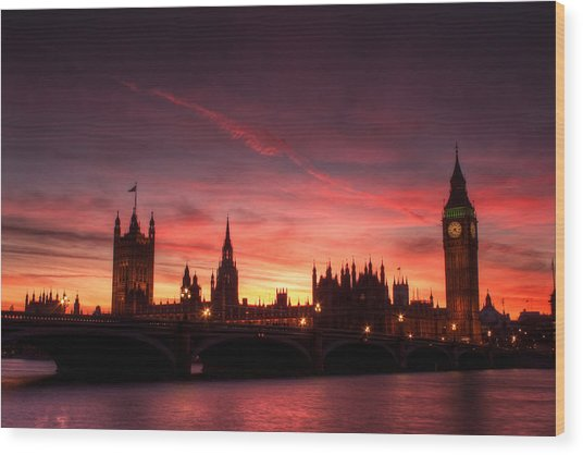 Westminster Sunset Wood Print