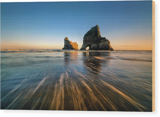 Wharaiki Beach Wood Print