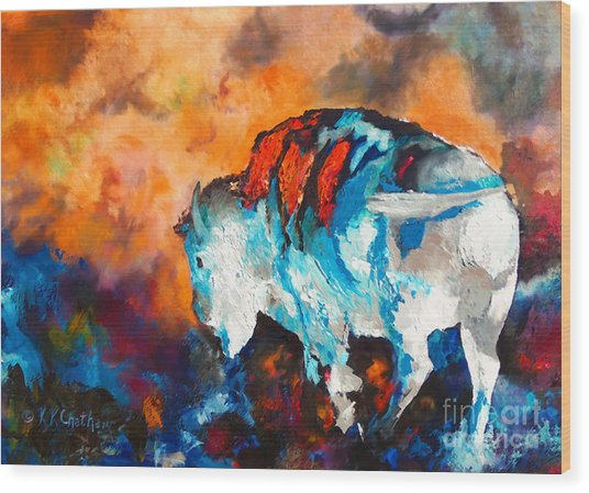 White Buffalo Ghost Wood Print