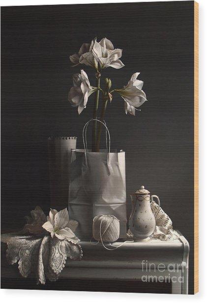 White On White Wood Print