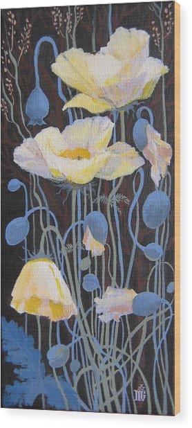 White Poppies Wood Print