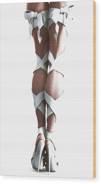 White Ribbons Wood Print