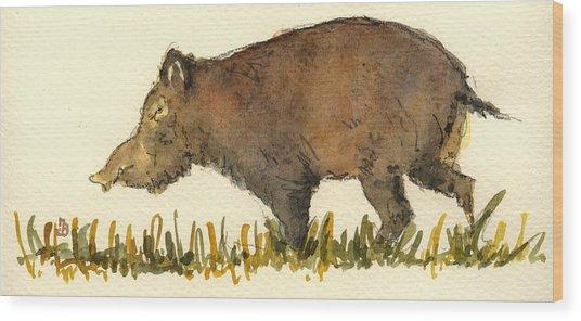 Wild Pig Wood Print