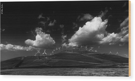 Windmill Electric Power Station Wood Print