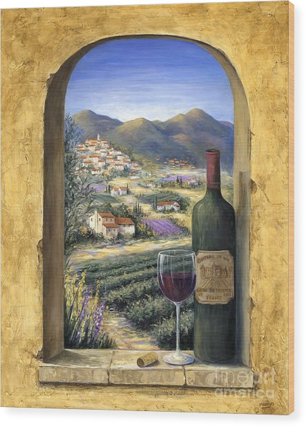 Wine And Lavender Wood Print