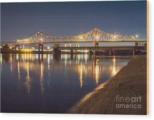 Winona Bridge At Sunset Wood Print
