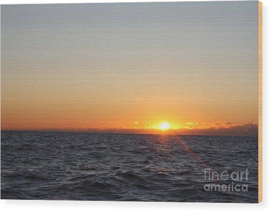 Winter Sunrise Over The Ocean Wood Print