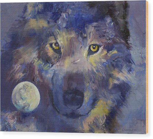 Grey Wolf Moon Wood Print