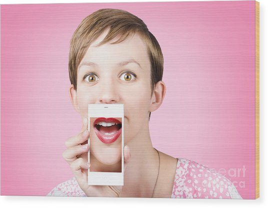 Woman Gossiping To Friends On Phone Video Chat  Wood Print