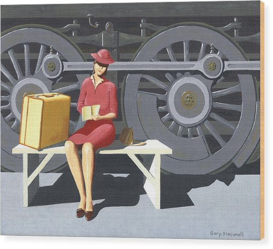 Woman With Locomotive Wood Print