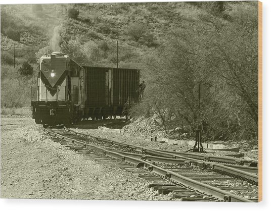Work Train In Clarkdale Arizona Wood Print