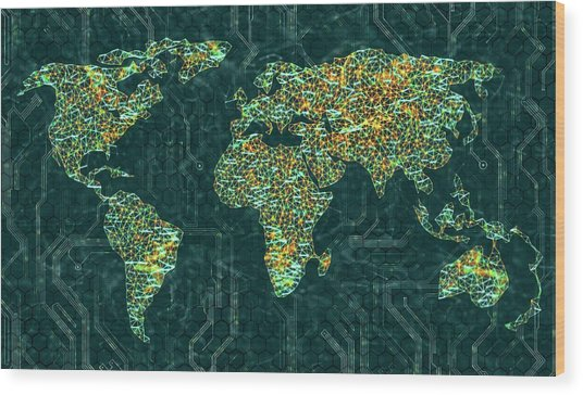 World Map Wood Print by Ktsdesign/science Photo Library
