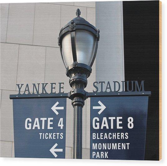 Yankee Stadium Sign Post Wood Print