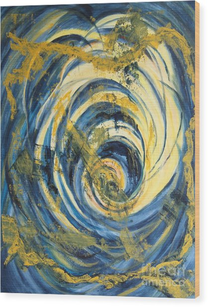 Yellow Spiral Wood Print by Christiane Schulze Art And Photography