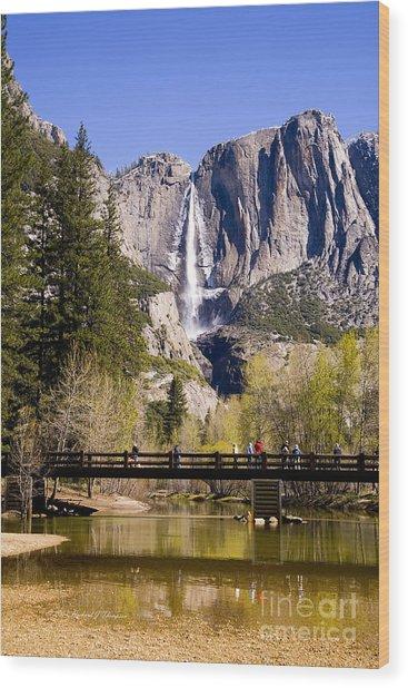 Yosemite Water Fall Wood Print