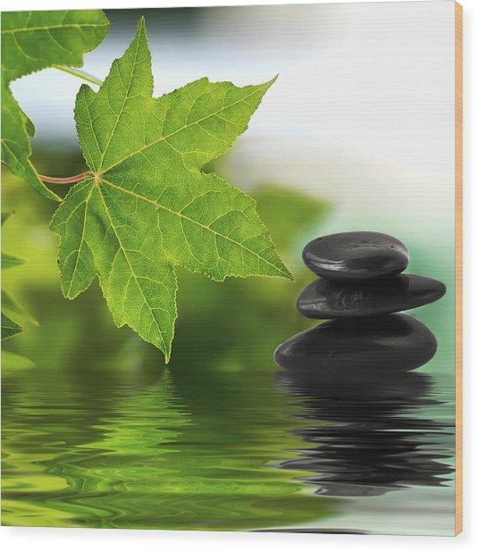 Zen Stones On Water Wood Print