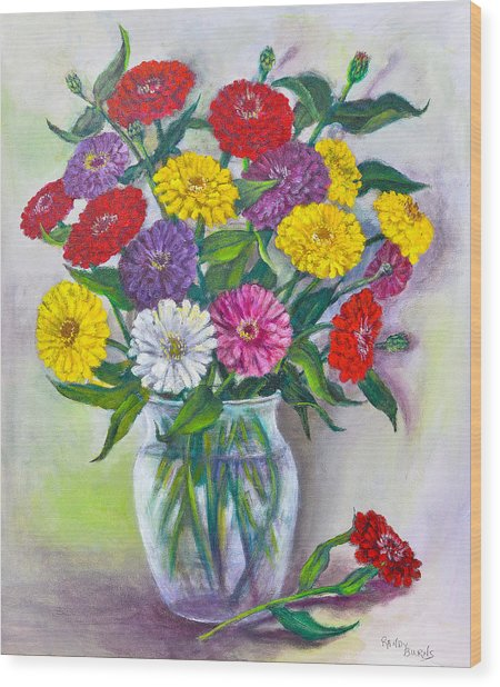 Old Fashioned Zinnias Wood Print