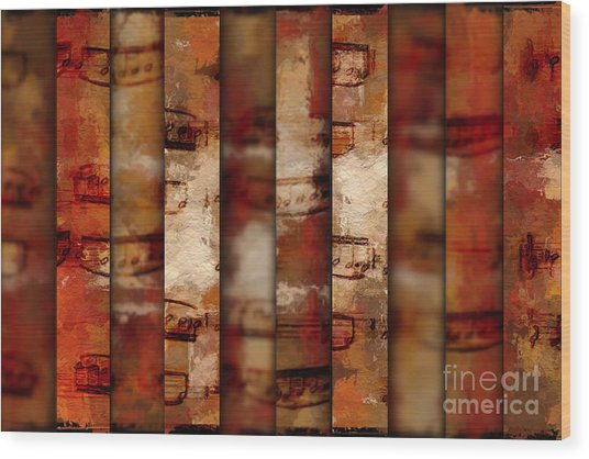 10-bar Orange Pastiche Wood Print