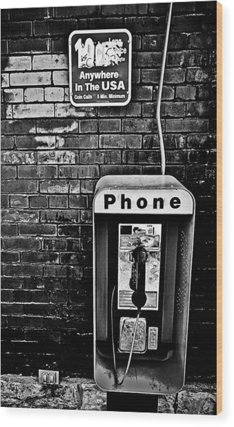 10 Cent Phone Call Wood Print