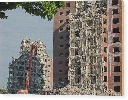 Demolition Of Detroit Housing Towers Wood Print
