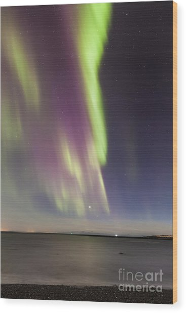 Northern Lights Iceland Wood Print