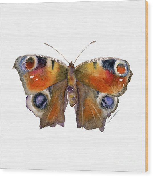 10 Peacock Butterfly Wood Print