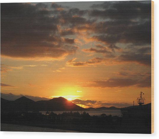 Sunset. Wood Print by Joyce Woodhouse