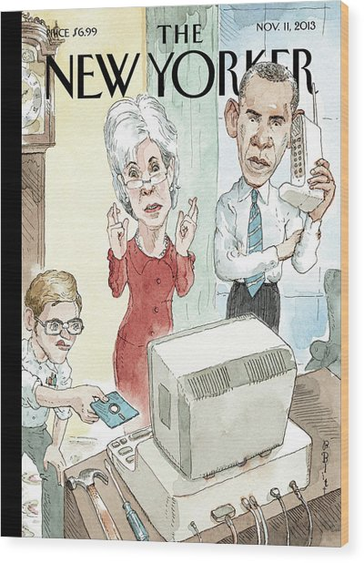 New Yorker November 11th, 2013 Wood Print by Barry Blitt