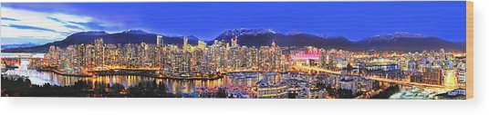 Vancouver Skyline Panorama Wood Print by Wesley Allen Shaw