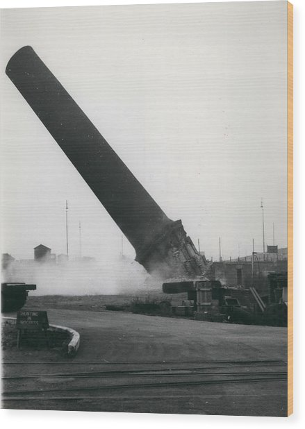 100-foot Chimney Stack Demolished At Silvertown Wood Print by Retro Images Archive