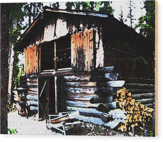 1000076 Salmon Smoke House Wood Print