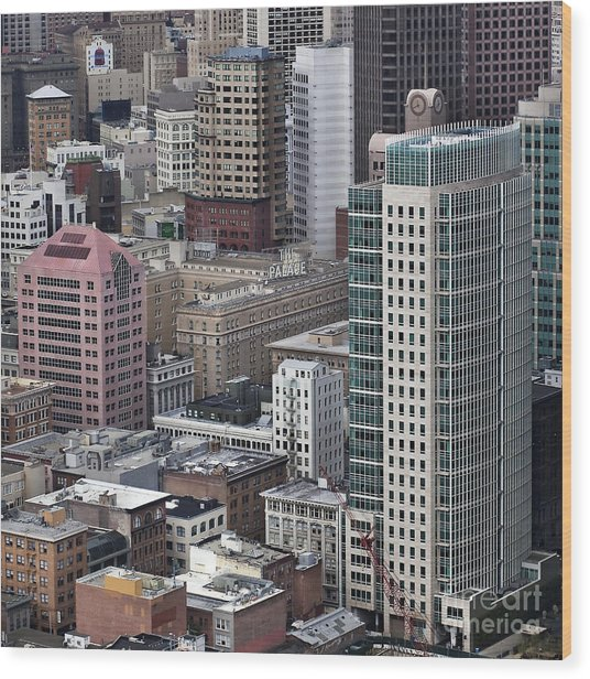 101 2nd Street Tower And The Palace Hotel In San Francisco Wood Print by Adrian Mendoza