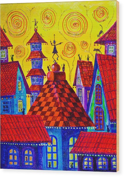1099 Magic Town 4 - Gilded Wood Print