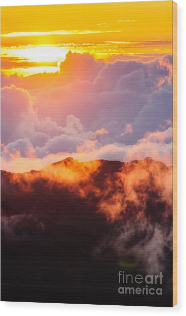Clouds At Sunrise Over Haleakala Crater Maui Hawaii Usa Wood Print