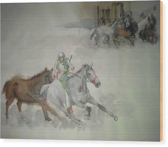 Italian Il Palio Horse Race Album Wood Print by Debbi Saccomanno Chan