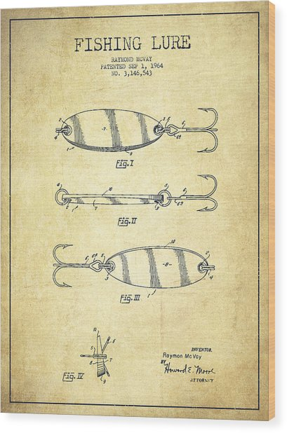 Vintage Fishing Lure Patent Drawing From 1964 Wood Print